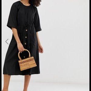 ASOS button front linen midi dress
